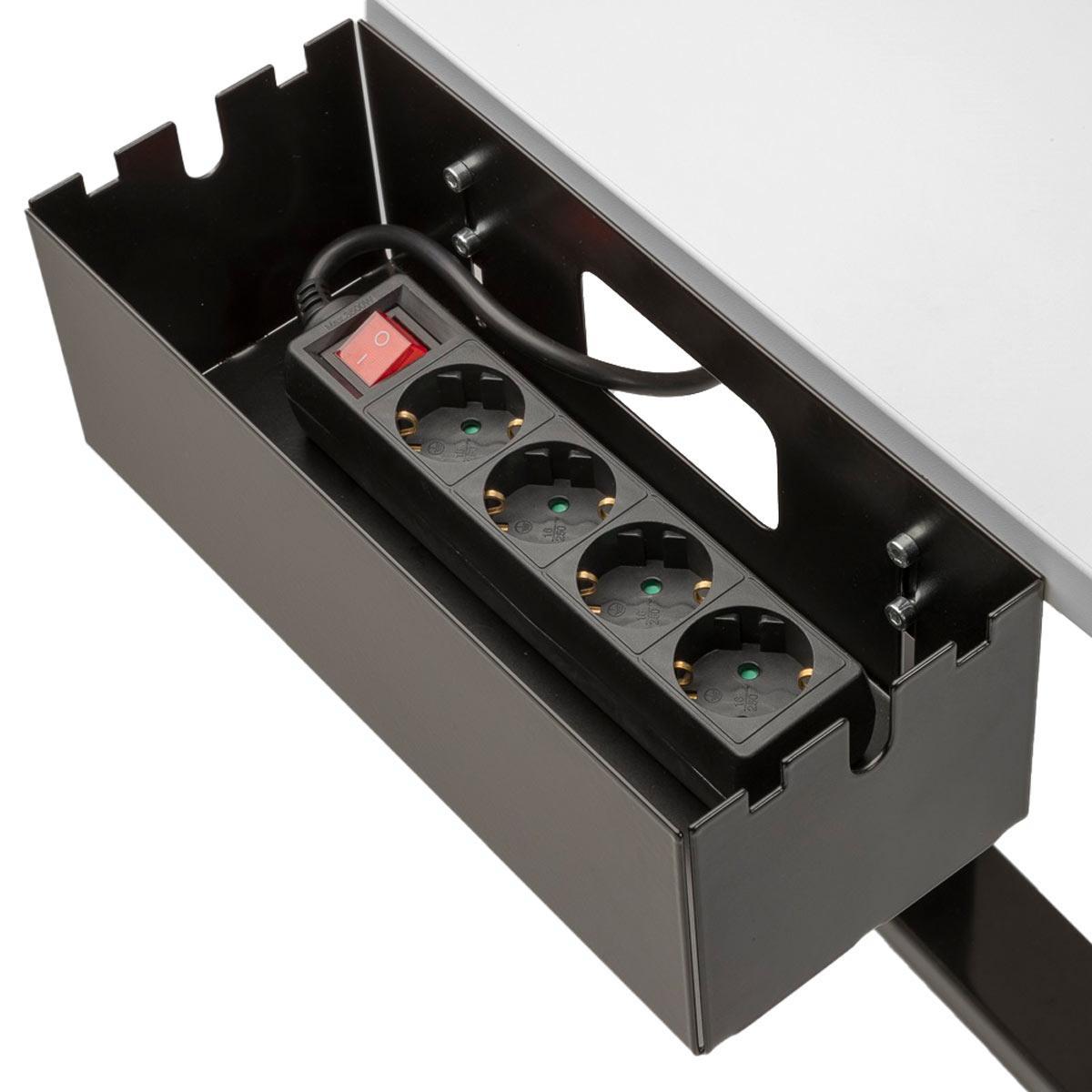 Multibox S mit Mehrfachsteckdose befüllt